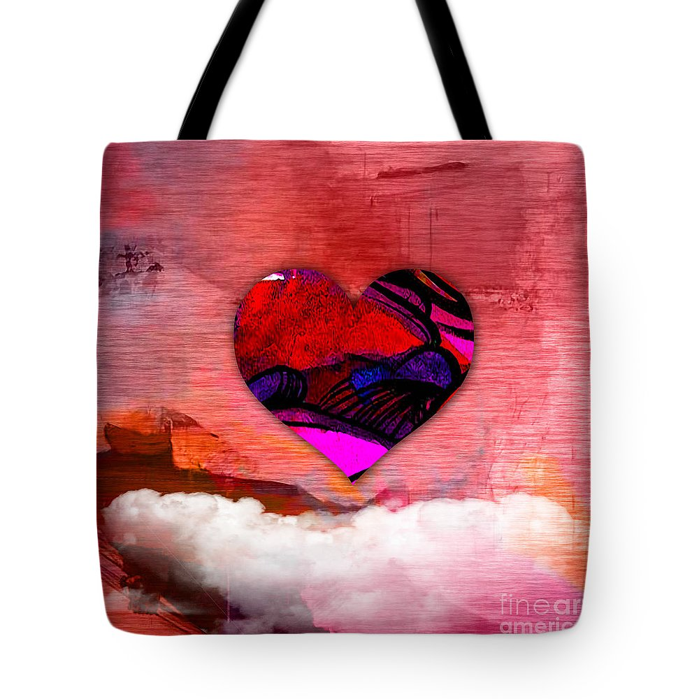 Heart Tote Bag featuring the mixed media Nothing But Love by Marvin Blaine