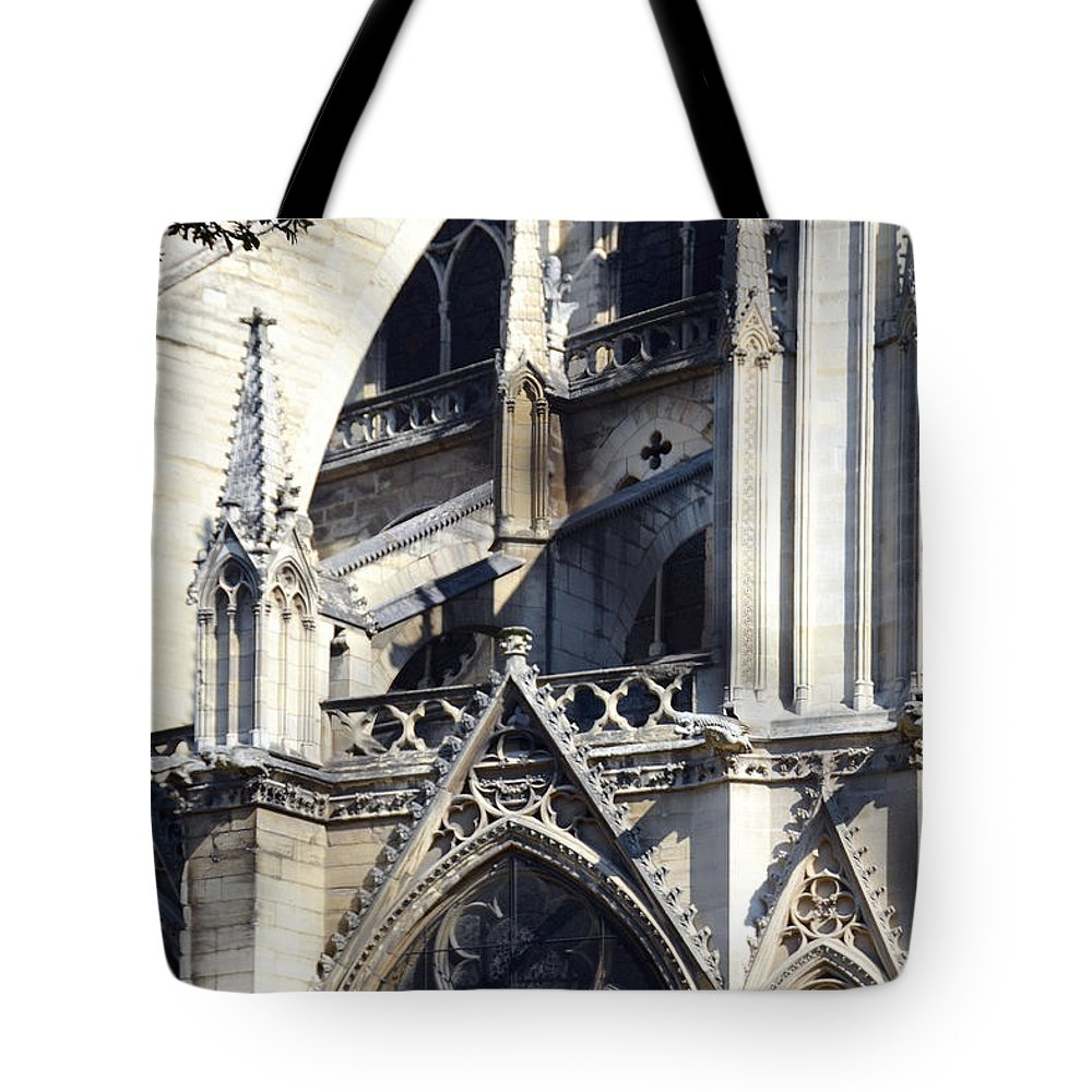 Notre Dame Tote Bag featuring the photograph Notre Dame Cathedral Architectural Details by Carla Parris