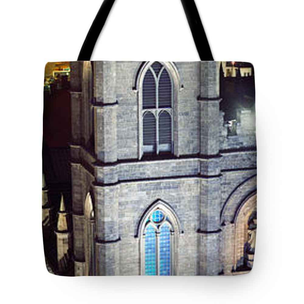 Photography Tote Bag featuring the photograph Notre Dame De Montreal At Night by Panoramic Images
