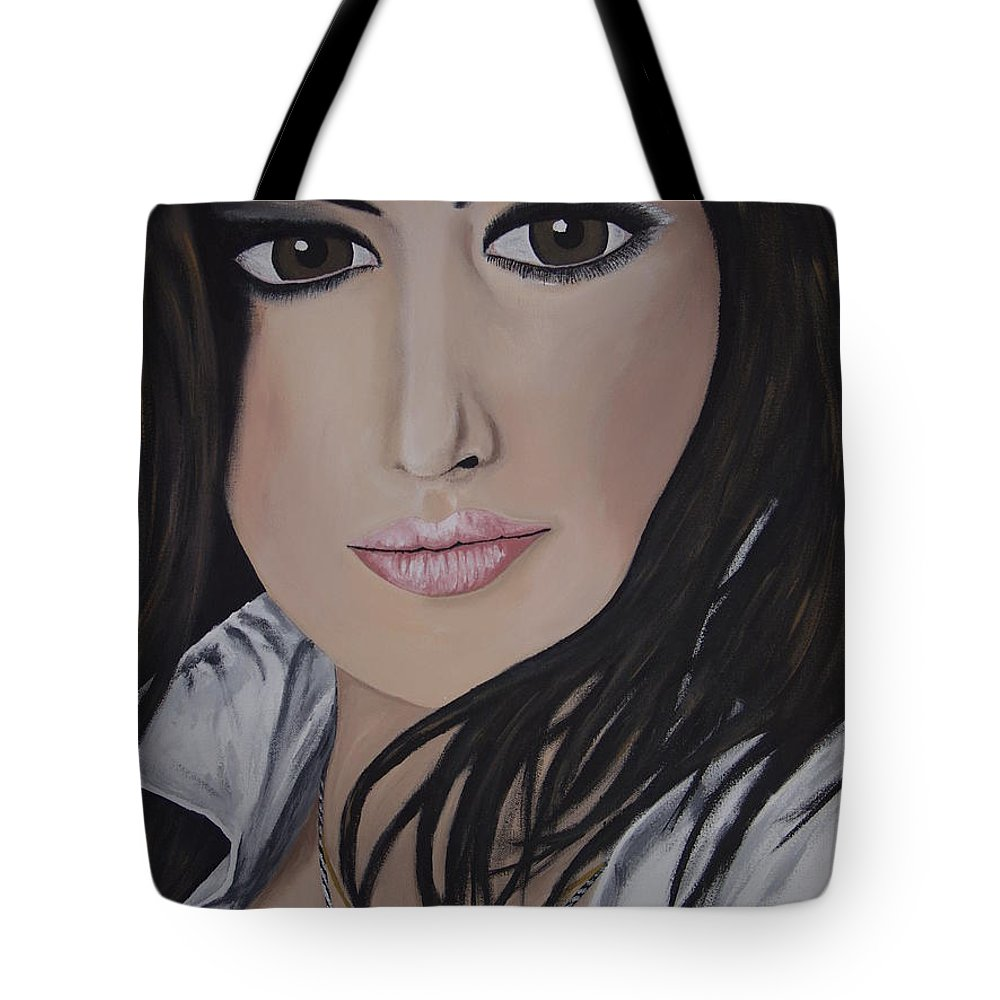 Actress Tote Bag featuring the painting Noureen Dewulf by Dean Stephens