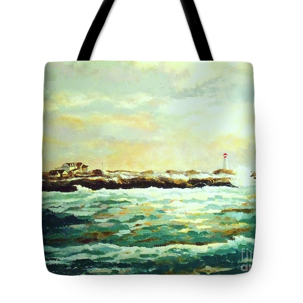 Ocean Paintings Tote Bag featuring the painting Nova Scotia by Madeleine Holzberg
