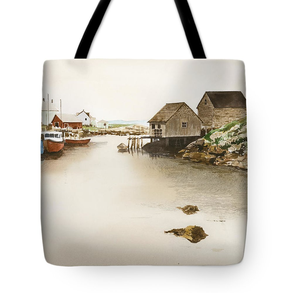 Peggy's Cove Tote Bag featuring the painting Nova Scotia by Monte Toon