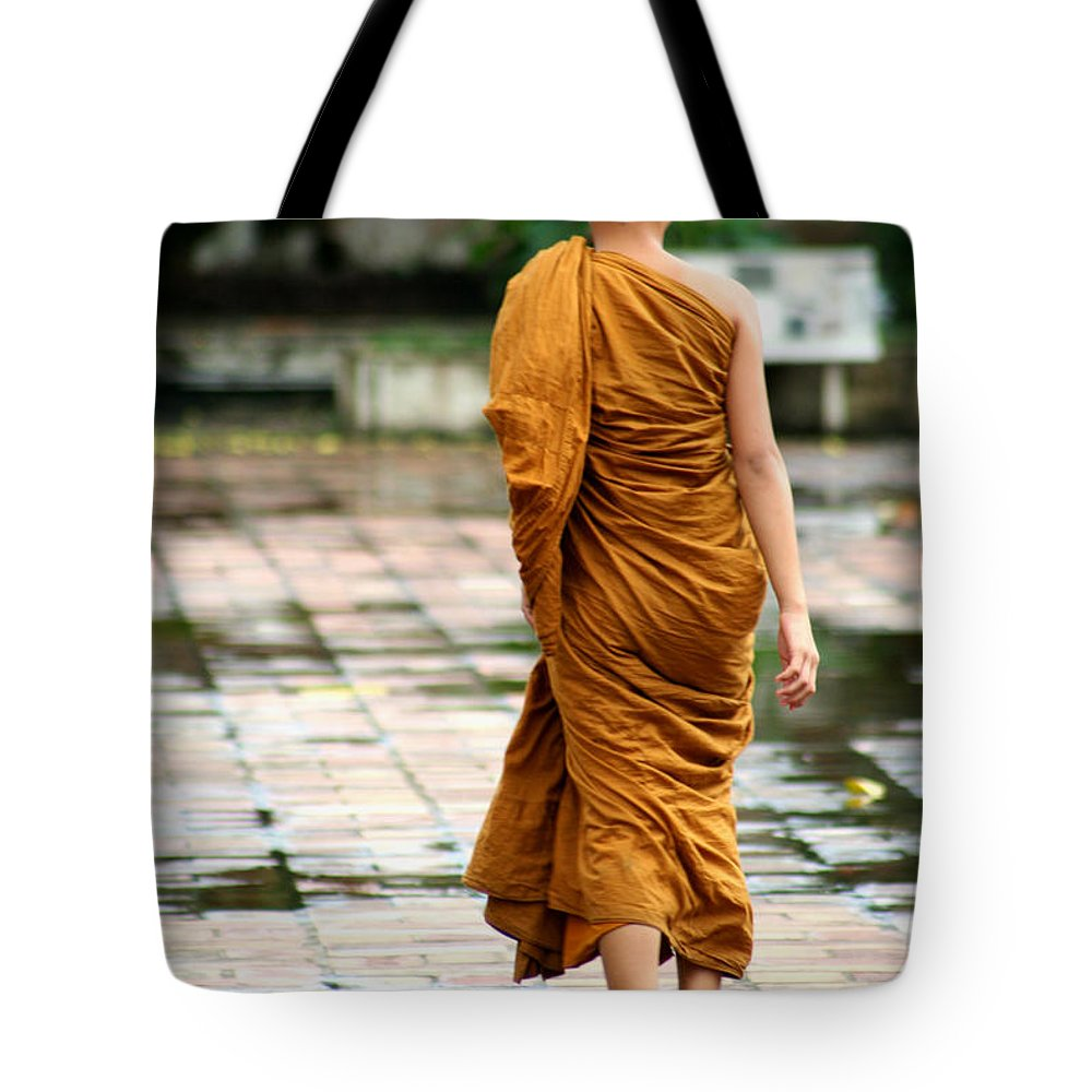 Monk Tote Bag featuring the photograph Novice Monk Of Chedi Luang by Nola Lee Kelsey