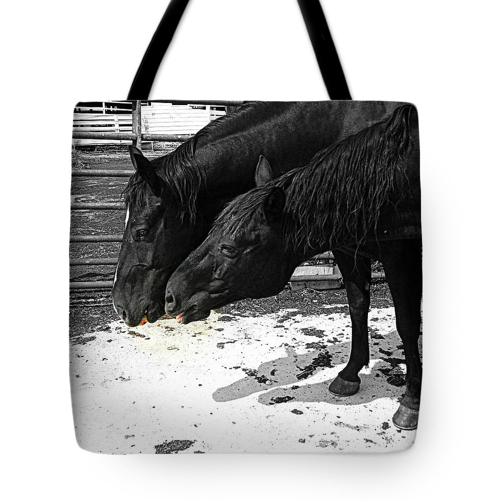 Horse Tote Bag featuring the photograph Now Share Please by Kathy Barney