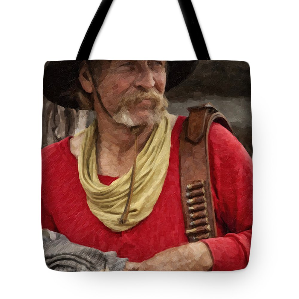 Cowboy Tote Bag featuring the digital art Now What by Jack Milchanowski