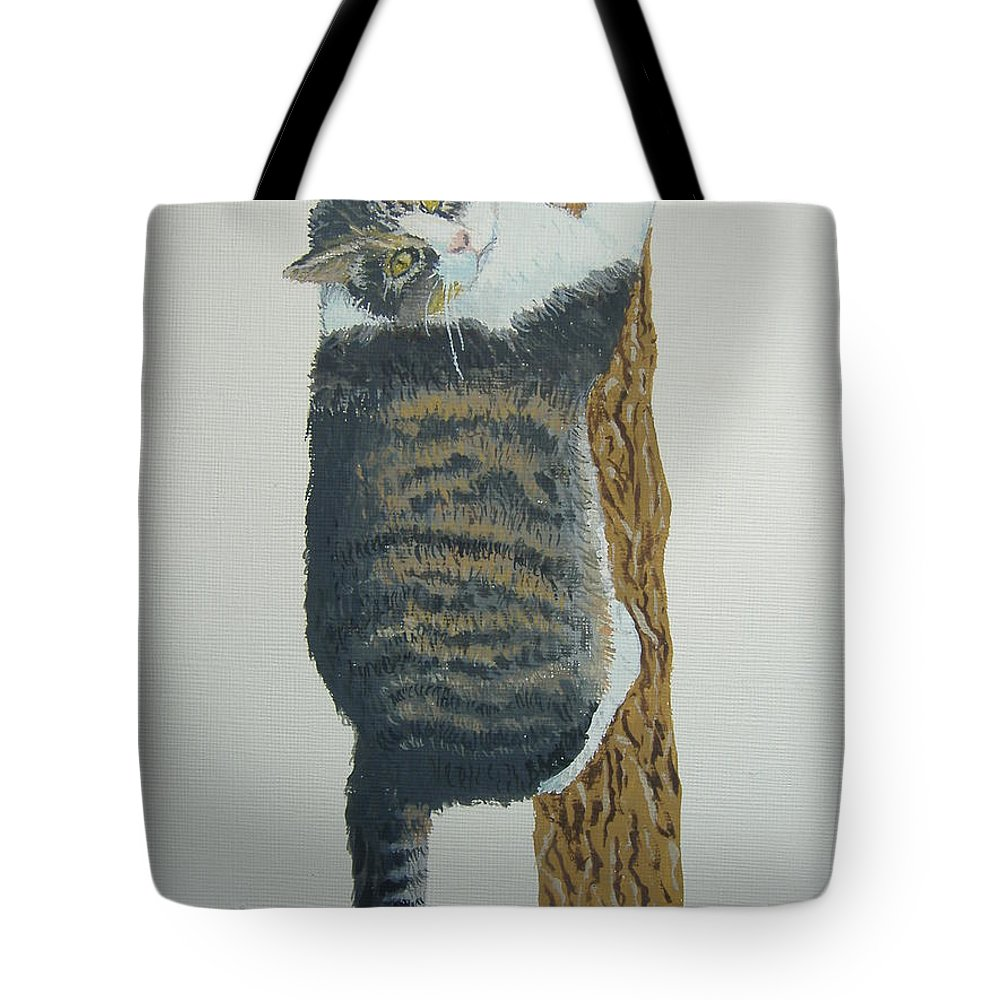 Cat Tote Bag featuring the painting Now What??? by Norm Starks