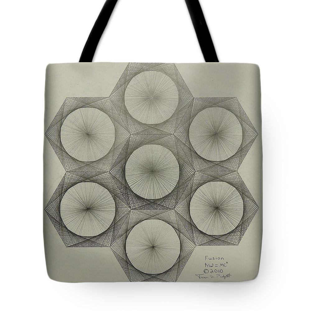 Nuclear Tote Bag featuring the drawing Nuclear Fusion by Jason Padgett