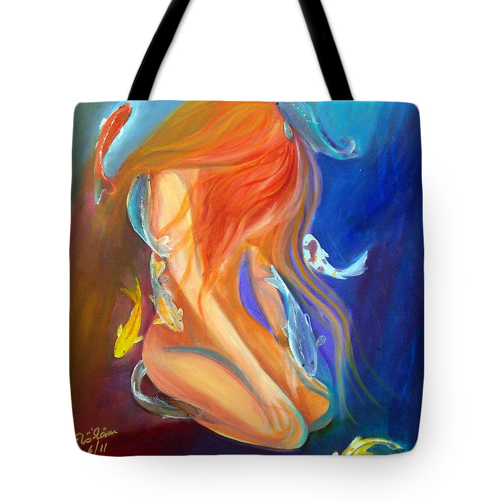 Abstract Tote Bag featuring the painting Nude 3 by To-Tam Gerwe
