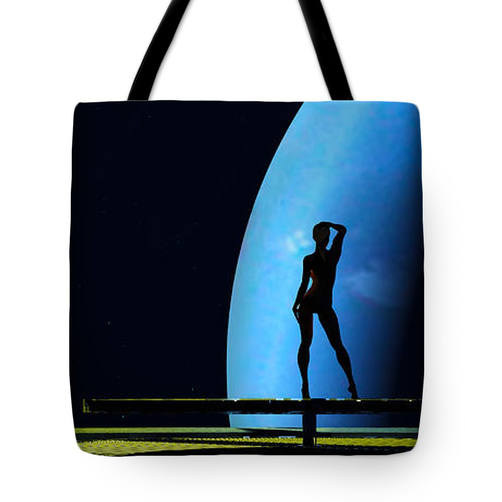 Scifi Tote Bag featuring the digital art Nude Amongst The Stars... by Tim Fillingim