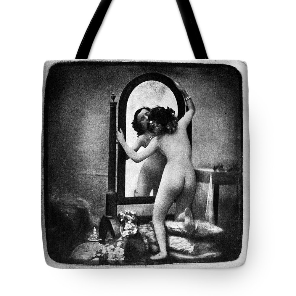 1850 Tote Bag featuring the photograph Nude And Mirror, C1850 by Granger