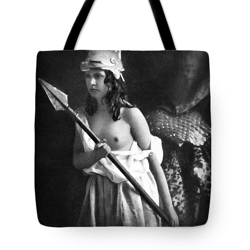 1850 Tote Bag featuring the photograph Nude As Ancient Warrior by Granger