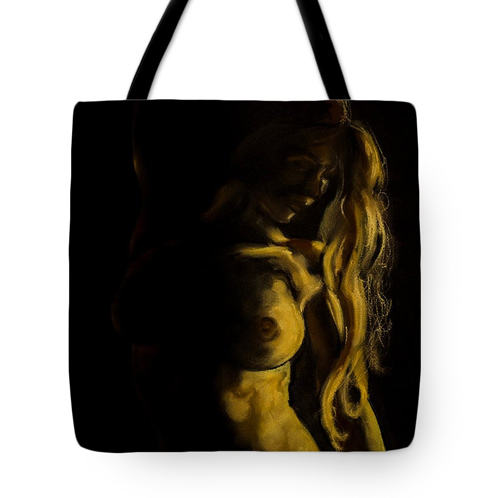 Art Tote Bag featuring the painting Nude - Chiaroscuro by Dorina Costras