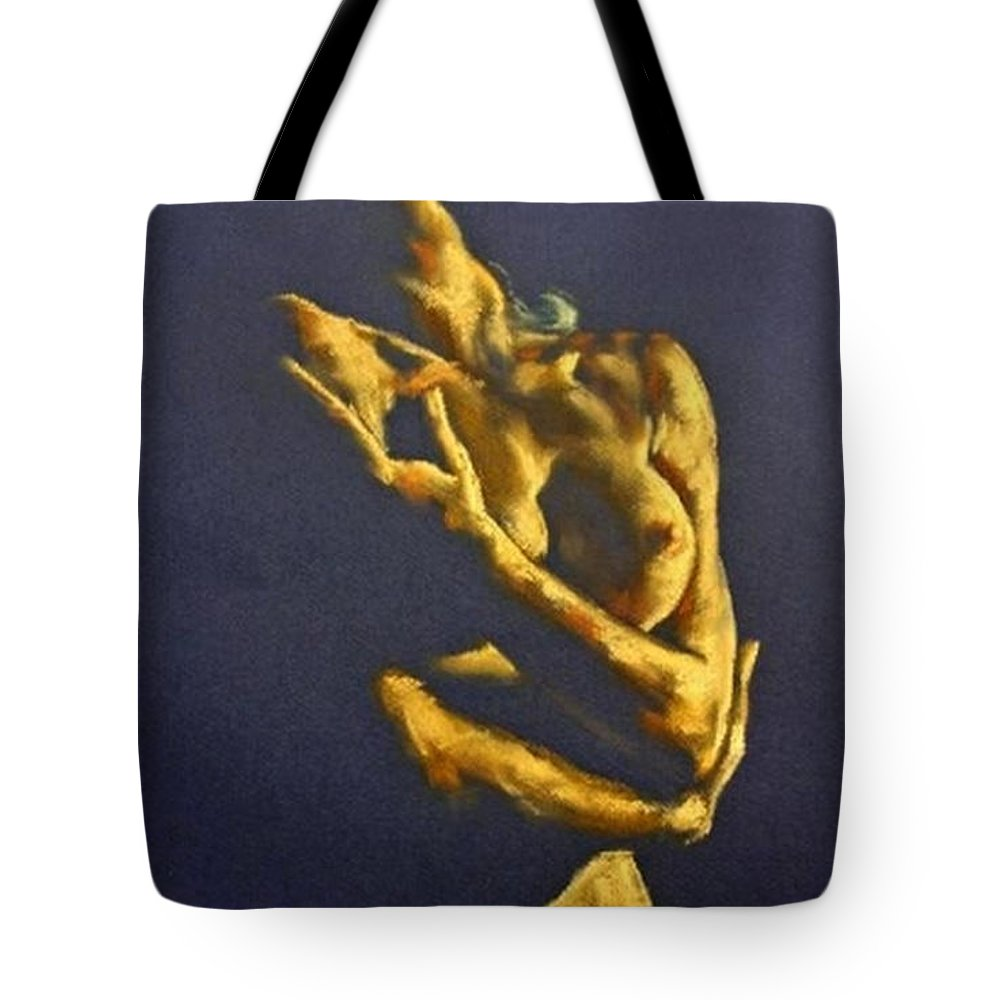 Nudes Tote Bag featuring the painting Nude - Ecstasy by Dorina Costras