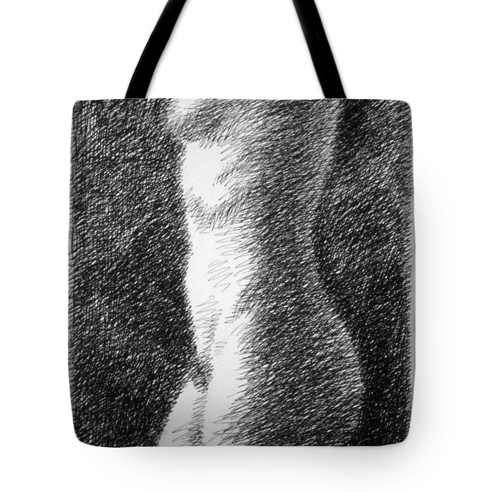 Tote Bag featuring the drawing Nude Female Torso Drawings 6 by Gordon Punt