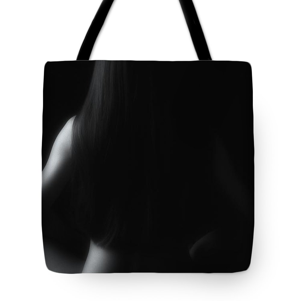 Nude Tote Bag featuring the photograph Nude In Black And White by Jeff Breiman