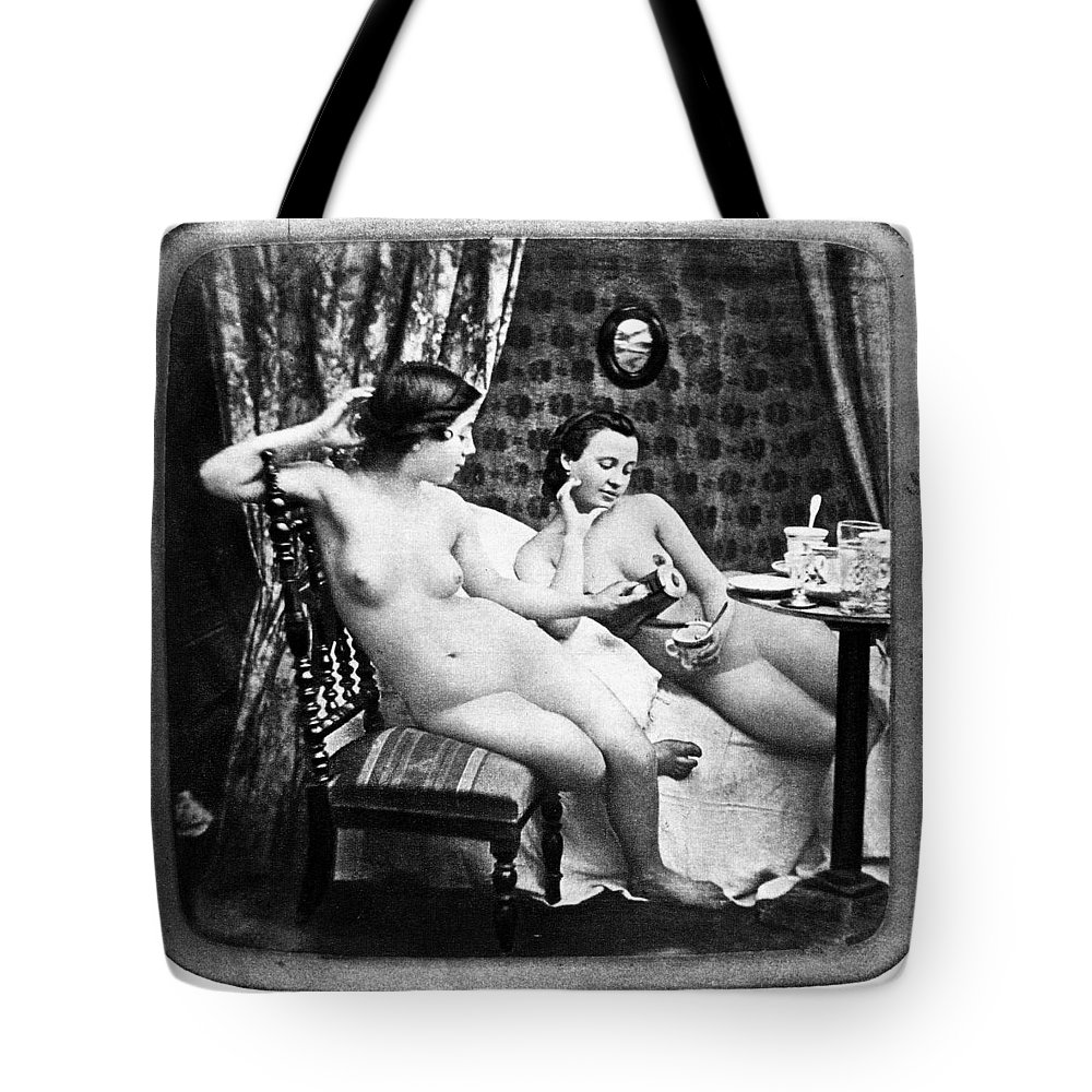 1850 Tote Bag featuring the photograph Nudes Having Tea, C1850 by Granger
