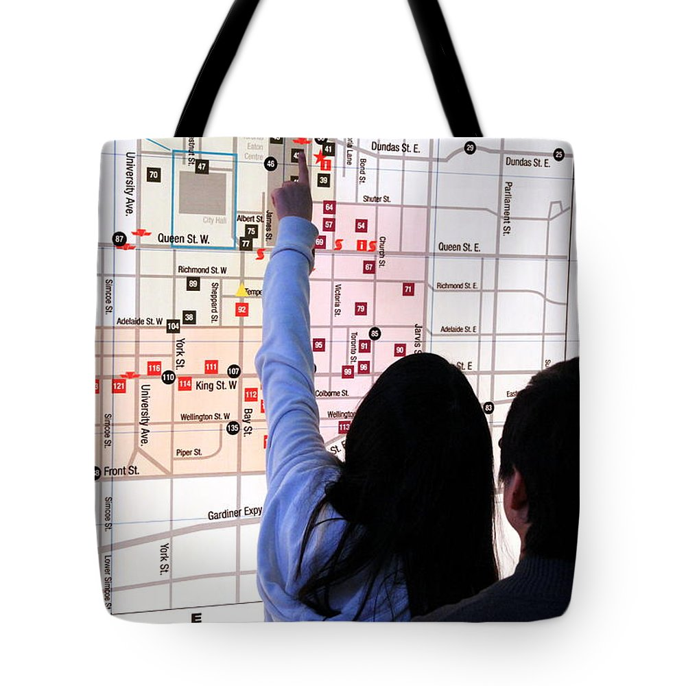 Illuminated Tote Bag featuring the photograph Nuit Blanche Map by Valentino Visentini