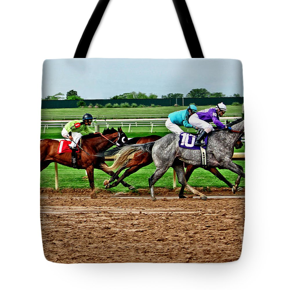 Horse Racing Tote Bag featuring the photograph Number Ten 027mxx by Earl Johnson