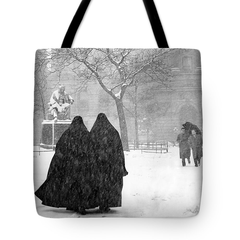 Christmas Tote Bag featuring the photograph Nuns In Snow New York City 1946 by Melissa A Benson