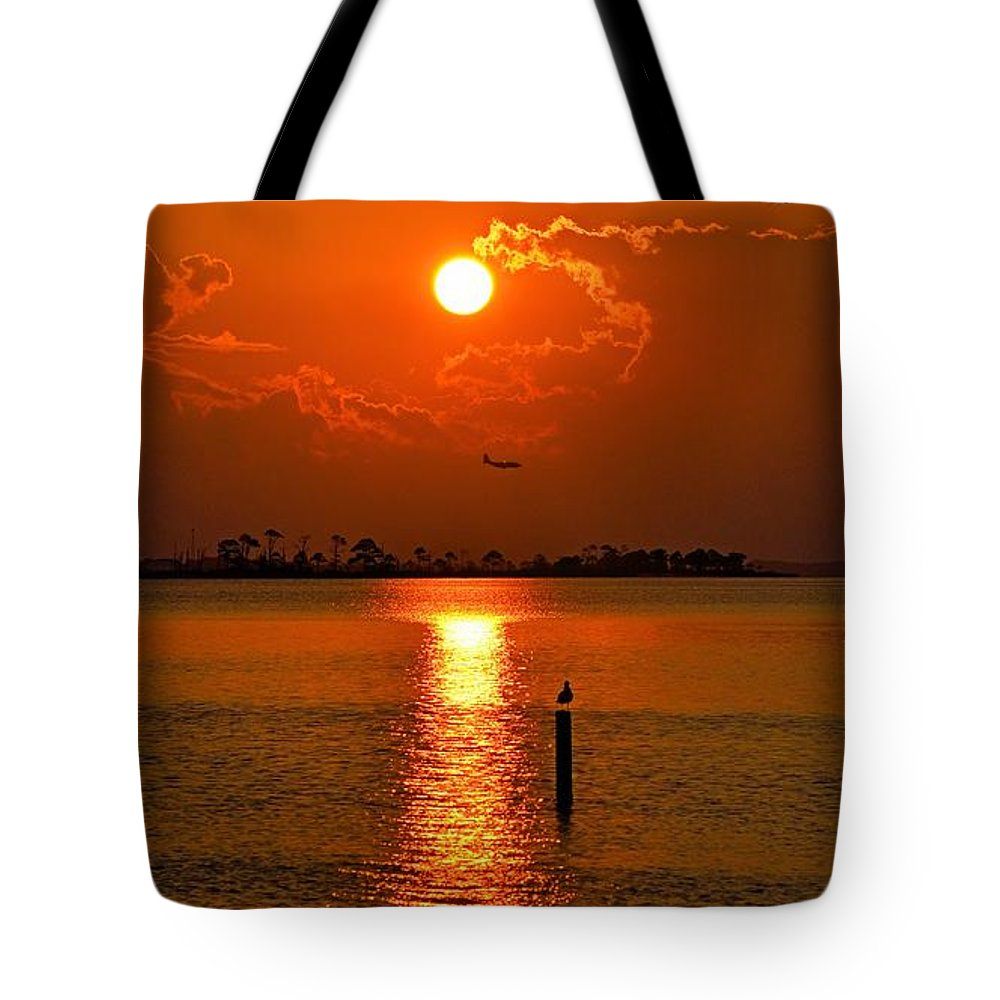 Golden Tote Bag featuring the photograph Nwfl Golden Sunset I Mlo by Mark Olshefski