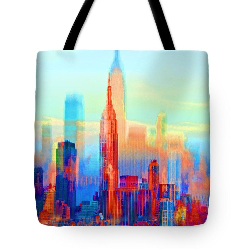 ny impression sunrise to sundown tote bag for sale by regina geoghan. Black Bedroom Furniture Sets. Home Design Ideas