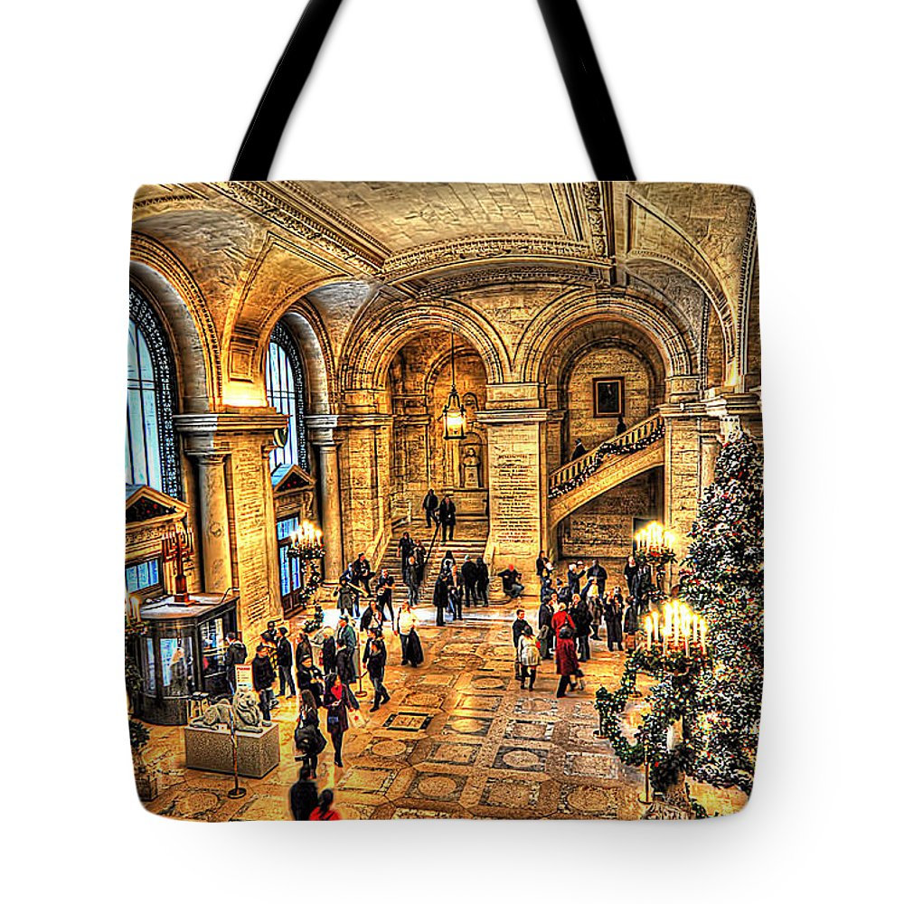 Architecture Tote Bag featuring the photograph Ny Library Foyer by Tina Baxter