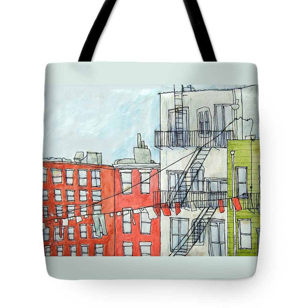 Nyc Tote Bag featuring the drawing 1st Ave by Cris Qualiana