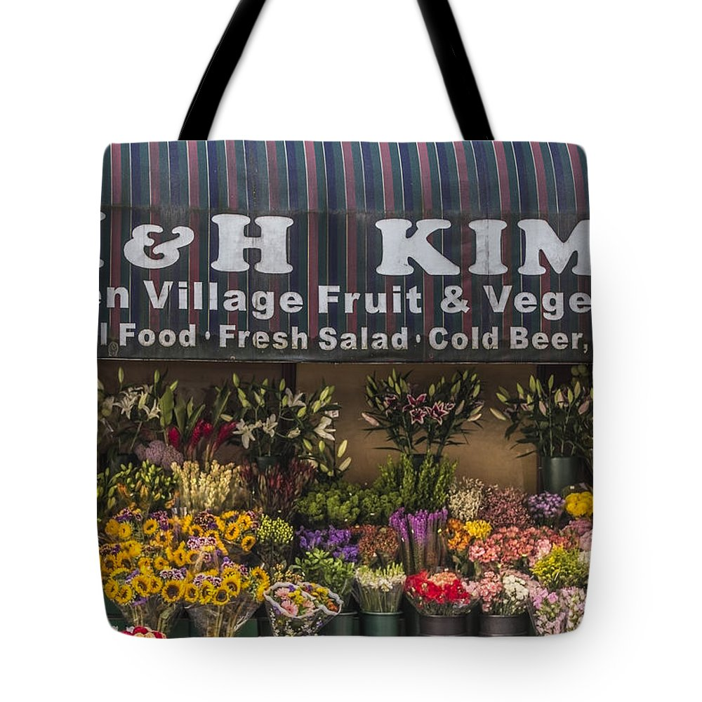 H&h Kim Tote Bag featuring the photograph Nyc Flower Shop by John McGraw