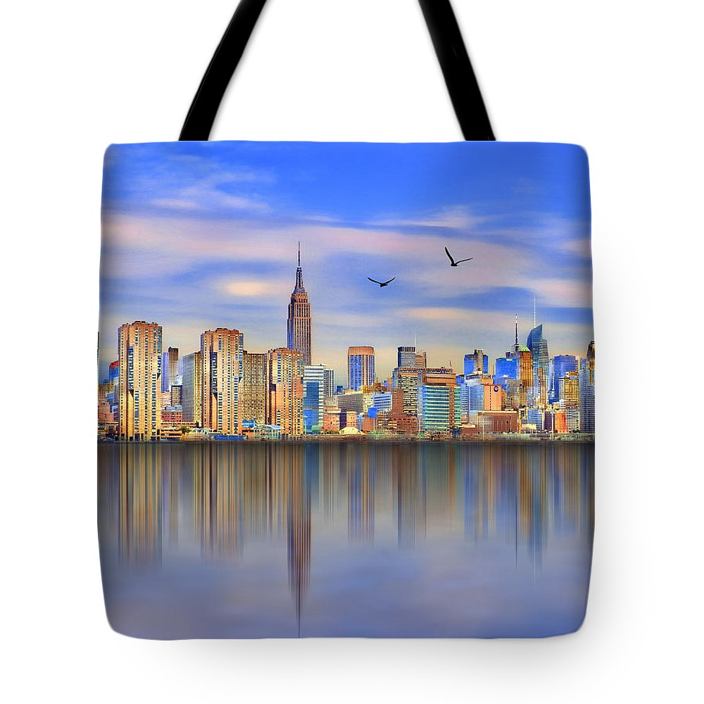 Nyc Tote Bag featuring the digital art Nyc Reflections by Nina Bradica