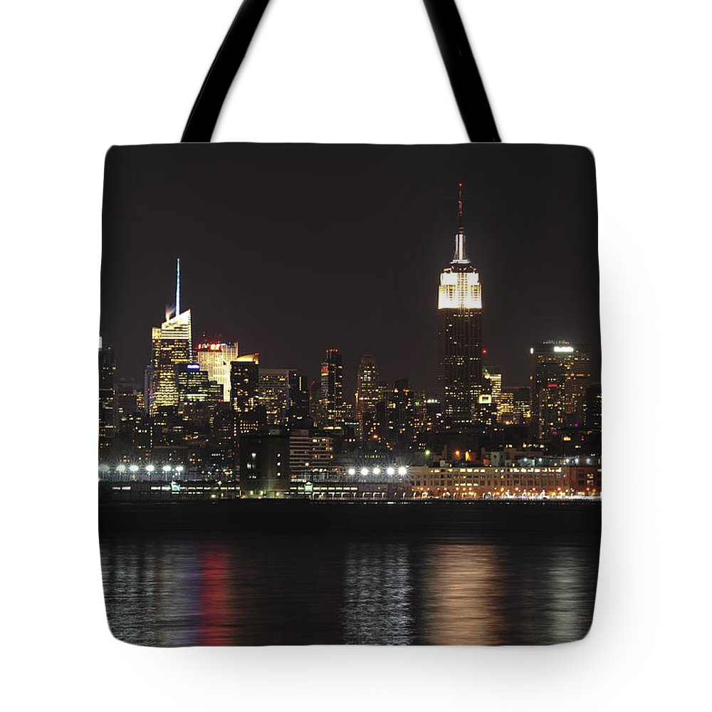 New York City Tote Bag featuring the photograph Nyc Skyline At Night by Terry DeLuco