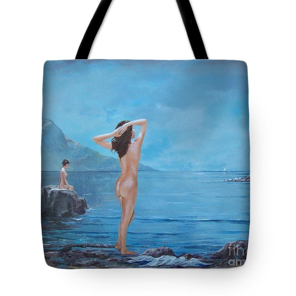 Female Figures Tote Bag featuring the painting Nymphs by Sinisa Saratlic