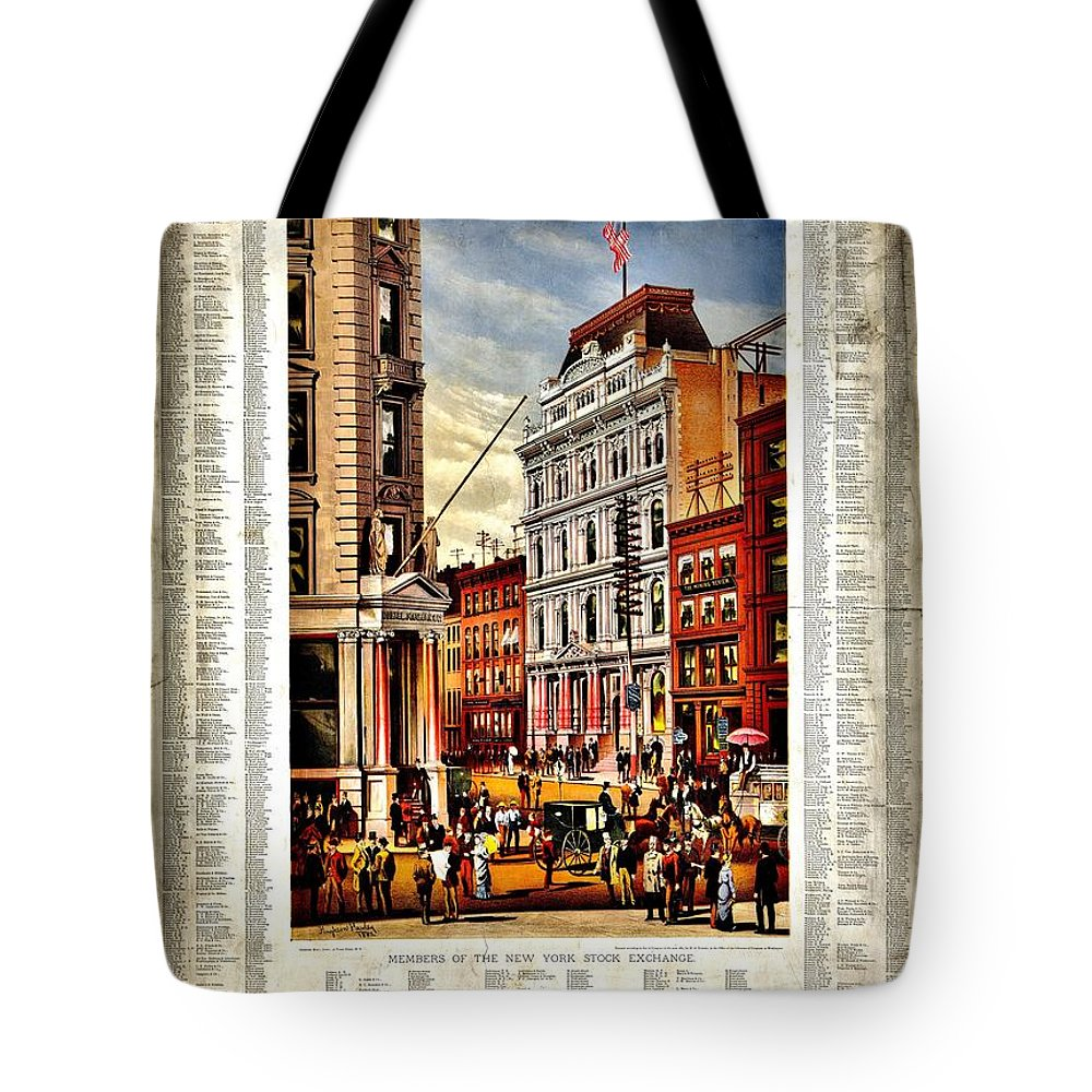 New York Stock Exchange Tote Bag featuring the photograph Nyse 1882 by Benjamin Yeager