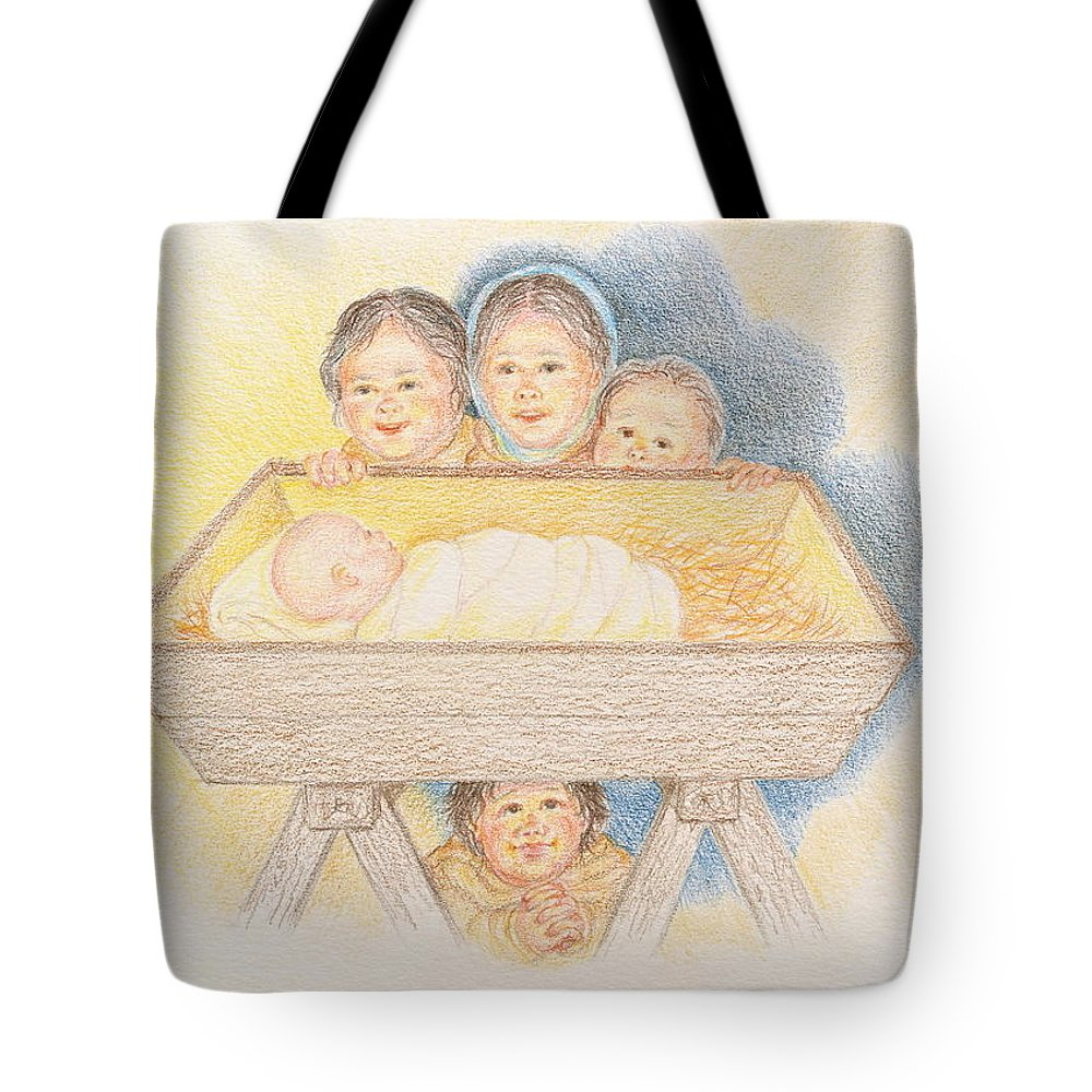 Christmas Card Tote Bag featuring the drawing O Come Little Children - Christmas Card by Michele Myers