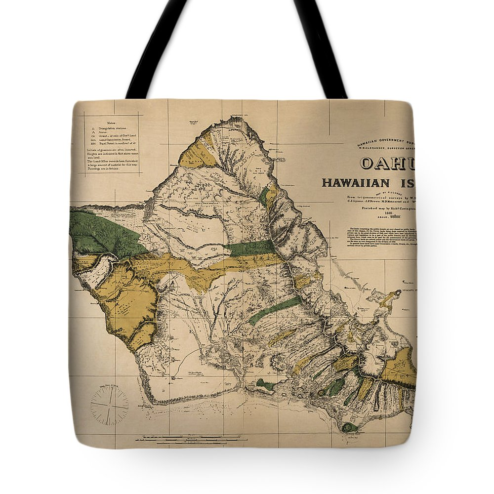 Oahu Tote Bag featuring the photograph Oahu Sovereign Hawaii Map 1881 by Daniel Hagerman