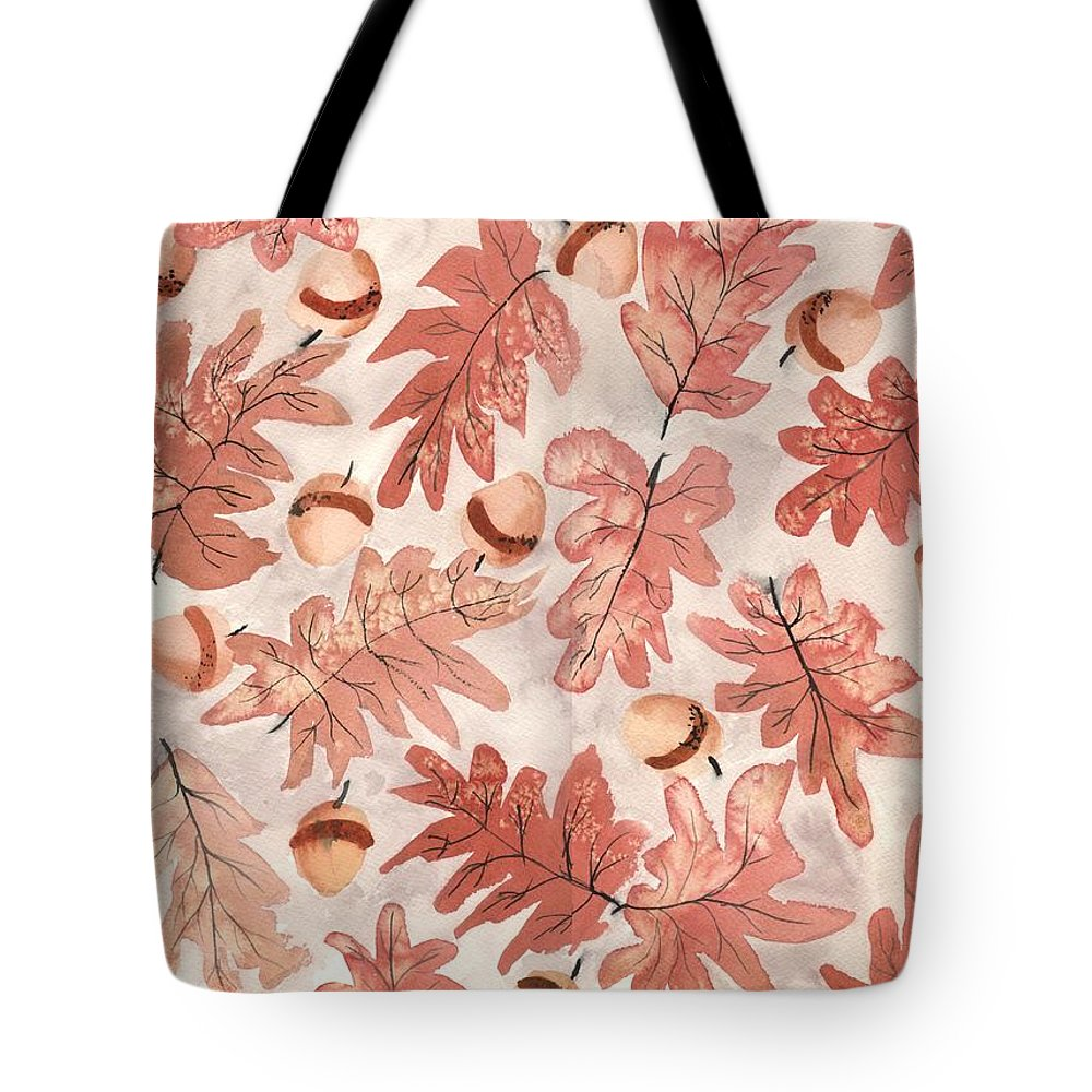 Monochrome Tote Bag featuring the painting Oak Leaves And Acorns by Neela Pushparaj