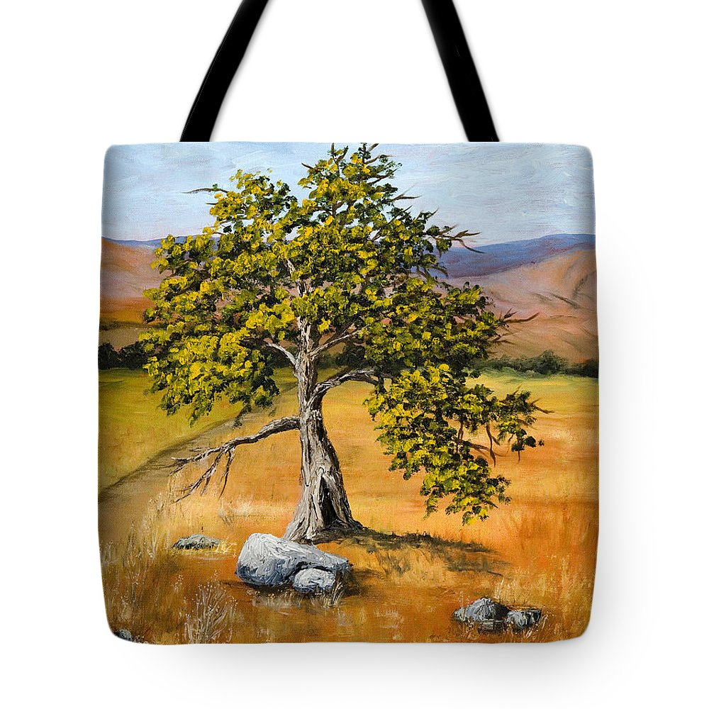Landscape Tote Bag featuring the painting Oak Tree by Darice Machel McGuire