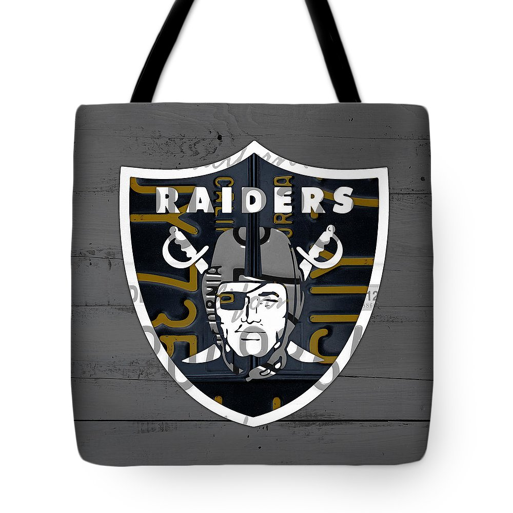 Oakland Raiders Football Team Retro Logo California License Plate Art Tote  Bag