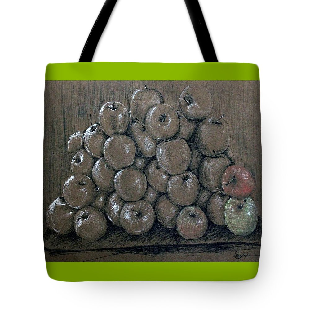 Apples Tote Bag featuring the drawing Oblivion by Nimi Izulu