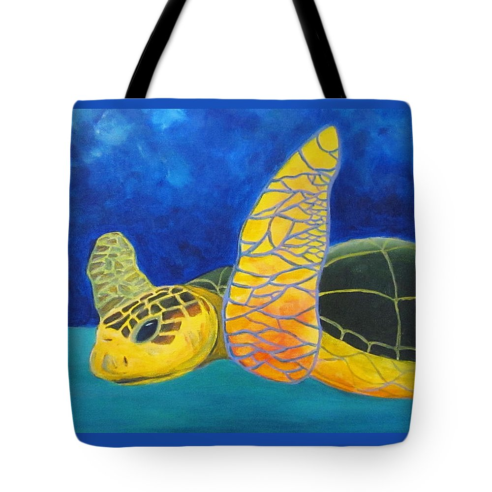 Sea Turtle Tote Bag featuring the painting Obx Turtle by Anne Marie Brown