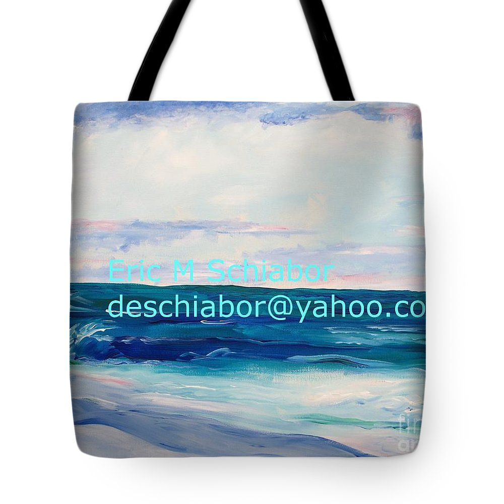 Floral Tote Bag featuring the painting Ocean Assateague Virginia by Eric Schiabor