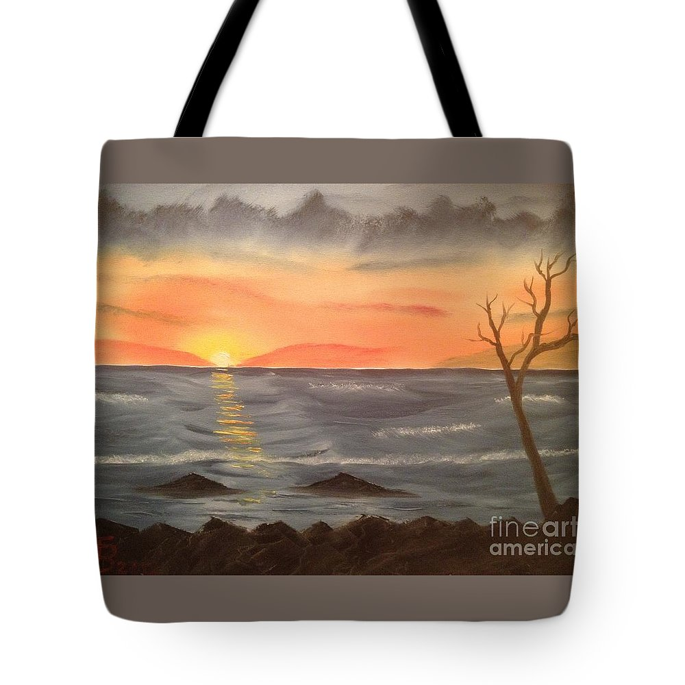 Original Tote Bag featuring the painting Ocean At Sunset by Tim Blankenship