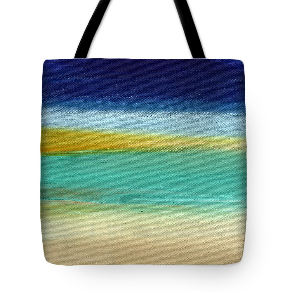 Abstract Tote Bag featuring the painting Ocean Blue 3- Art By Linda Woods by Linda Woods