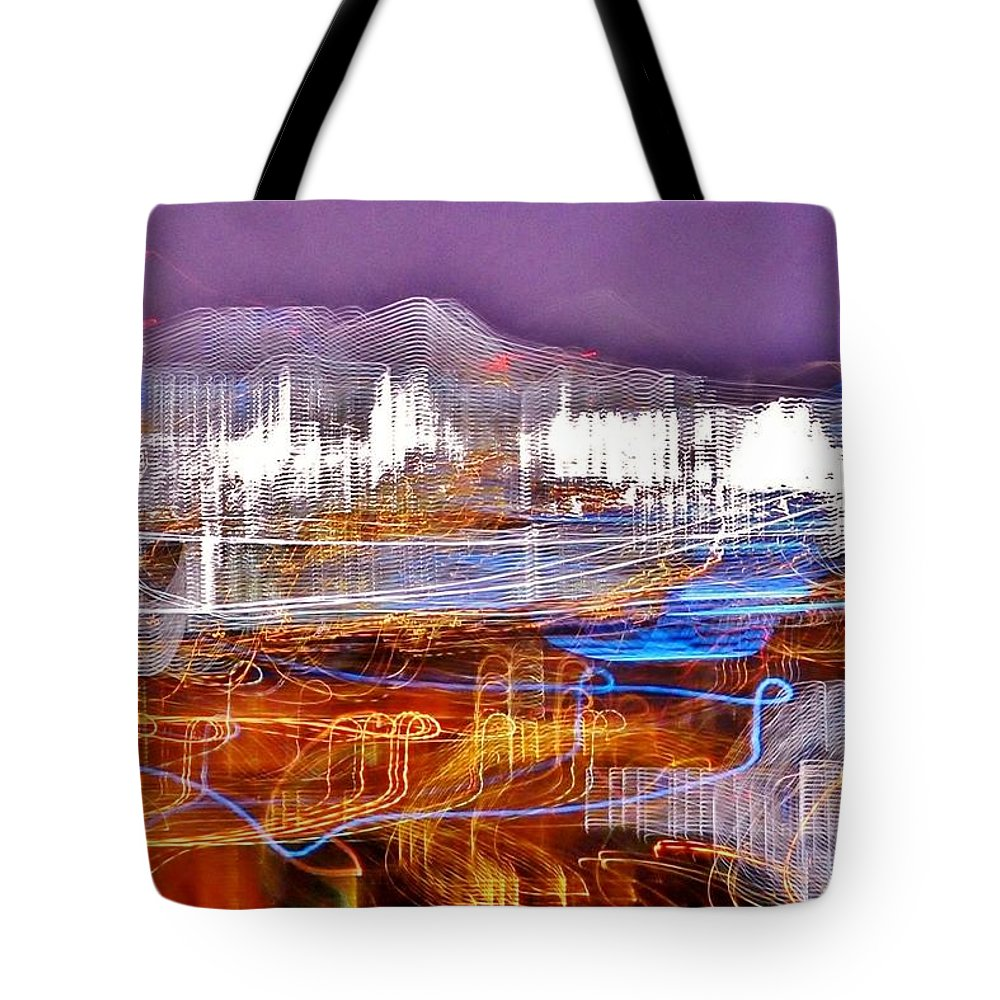 Ocean City Tote Bag featuring the photograph Ocean City By Night - Abstract Purple by Kim Bemis