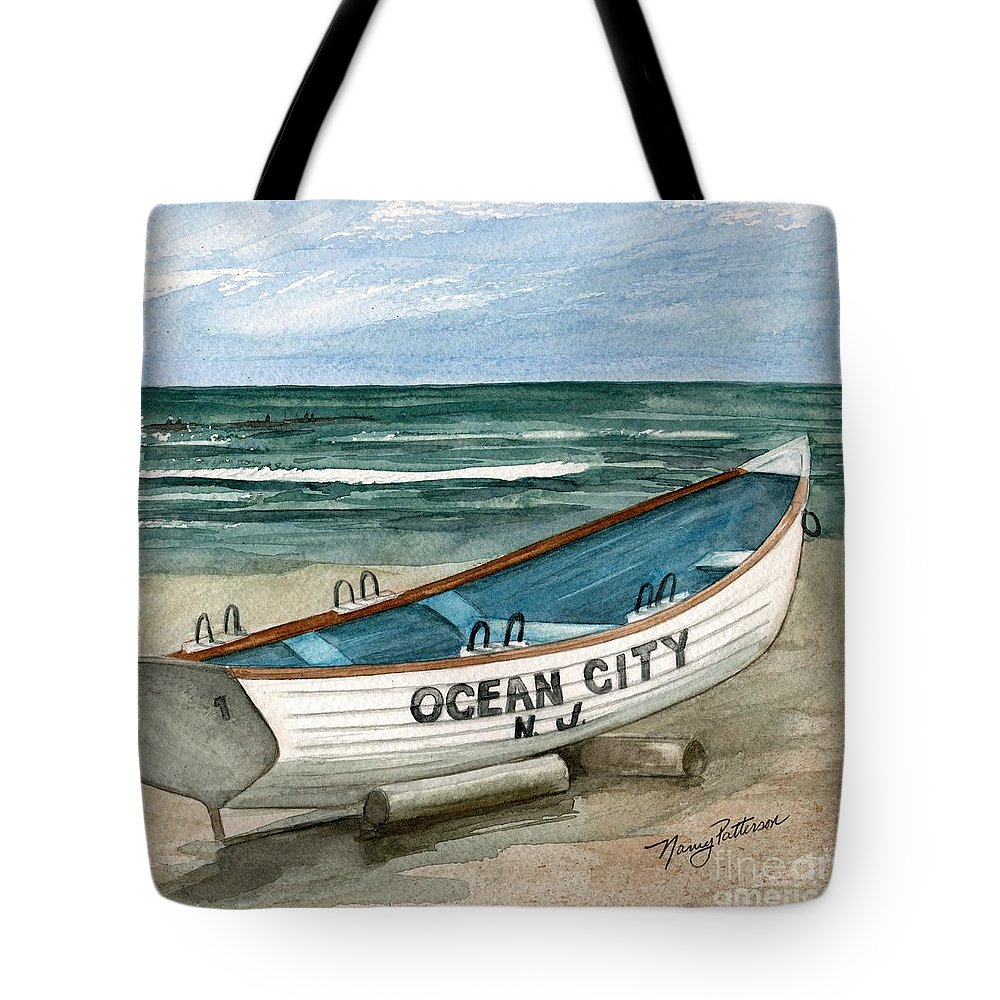 9aa3531c4486 Ocean City Lifeguard Boat Tote Bag featuring the painting Ocean City Lifeguard  Boat 2 by Nancy