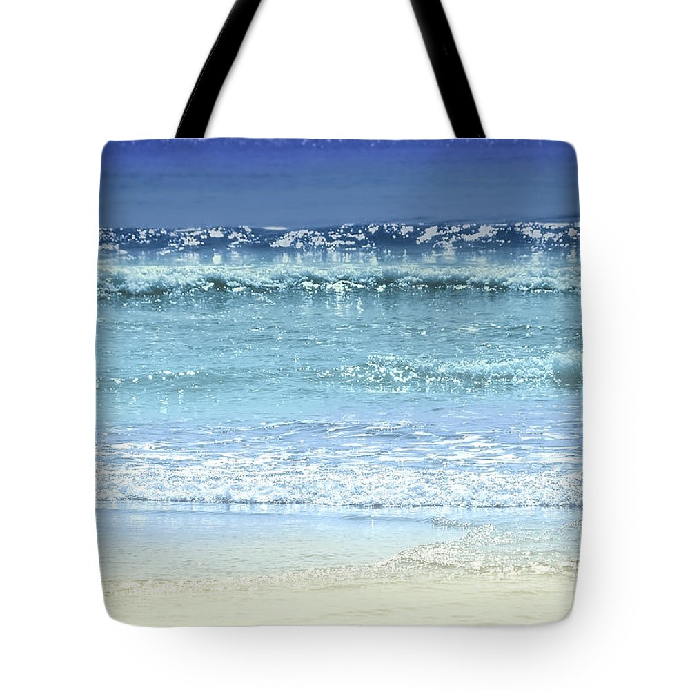 Sandy Beach Photographs Tote Bags