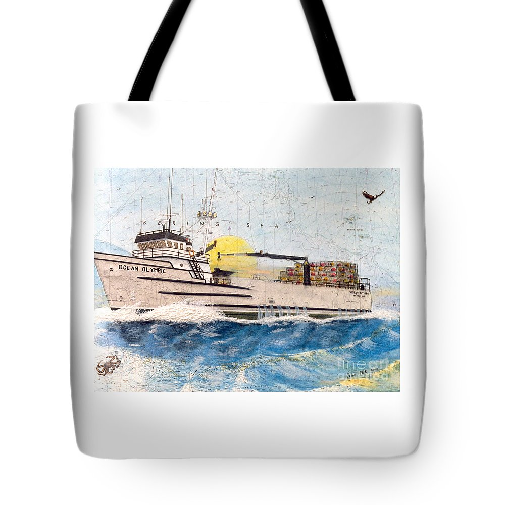 Ocean Tote Bag featuring the painting Ocean Olympic King Crab Fishing Boat Nautical Chart Map Art by Cathy Peek