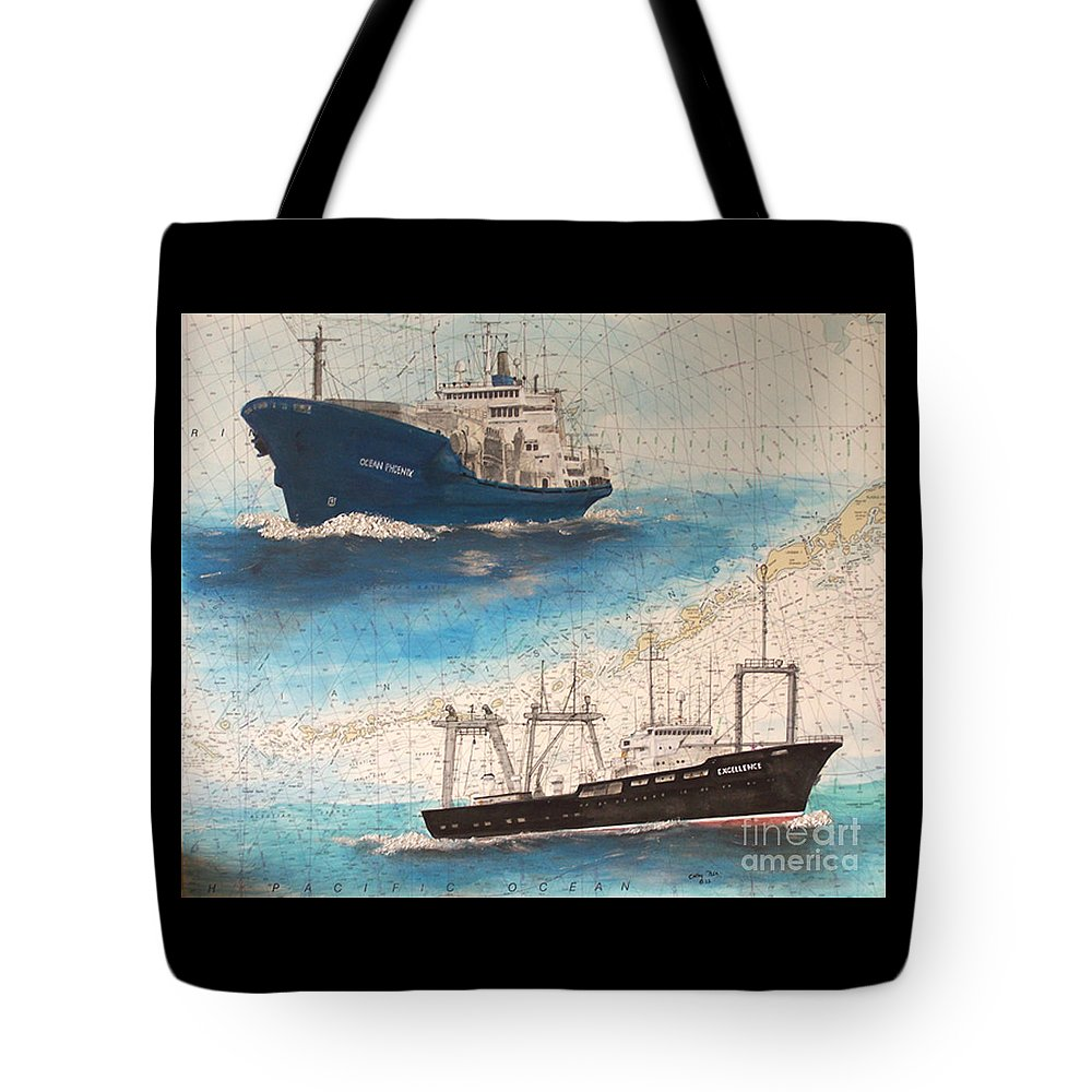 Ocean Tote Bag featuring the painting Ocean Phoenix And Excellence Boat Nautical Chart Map Art by Cathy Peek