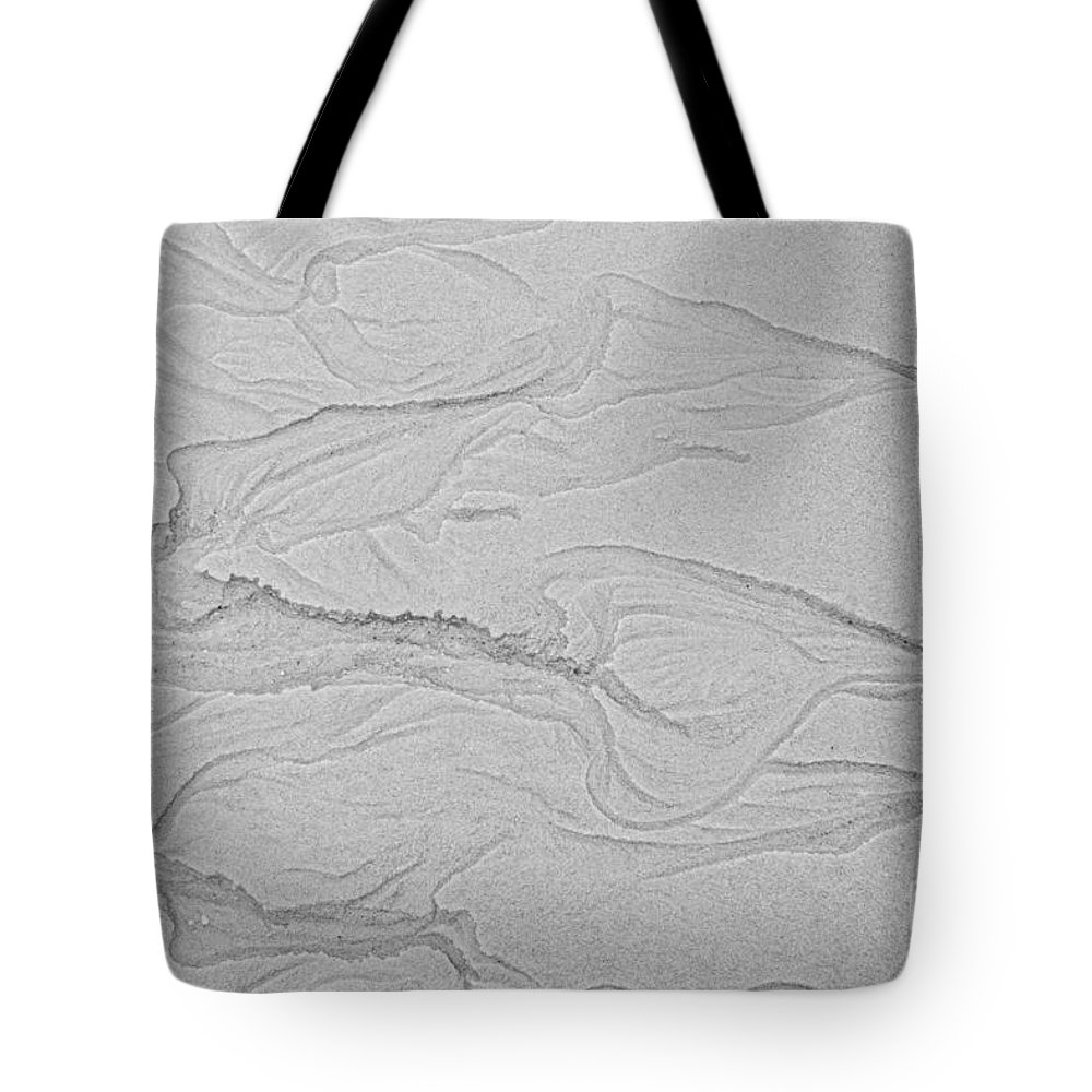 Iris Holzer Richardson Tote Bag featuring the photograph Ocean Sand Art Hearts Left Side by Iris Richardson