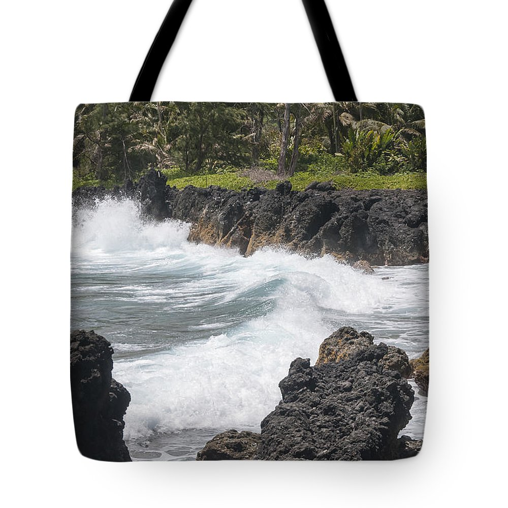 Road To Hana Maui Hawaii Pacific Ocean Oceans Sea Seas Wave Waves Waterscape Waterscapes Rock Rocks Landscape Landscapes Water Tote Bag featuring the photograph Ocean White Water by Bob Phillips