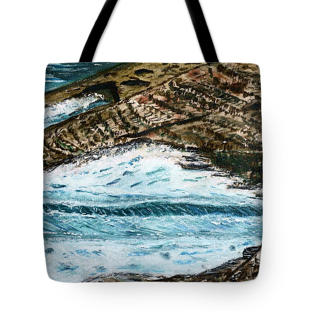 Shore; Exotic; Palm Tree; Coconut; Sand; Beach; Sailing Paintings Tote Bag featuring the painting Ocean's View. by Shlomo Zangilevitch